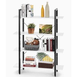 4 Tier Wood Bookcase Solid 130lbs Load Capacity Industrial Bookshelf, Sturdy Bookshelves with Steel Frame, Storage Organizer Home Office Shelf WHITE for Sale in Ontario,  CA