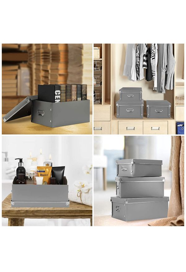 Plastic Bins, Water-Proof, Space Saving Storage Box 3 in 1 Set, for Clothes, Toys, Cosmetic, Books.