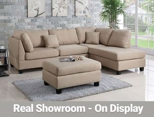 Real Showroom / Visit Us - Sand Reversible Chaise Couch Sofa Sectional With Ottoman for Sale in Los Angeles, CA