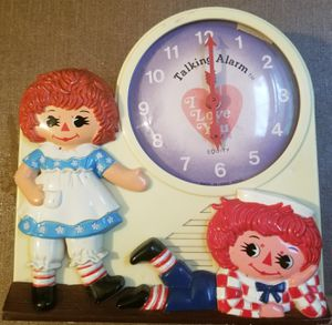 Raggedy Ann & Andy 1974 Janex talking alarm clock for Sale in Three Rivers, MI