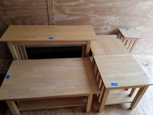 Tables, 5pc solid wood for Sale in Burlington, NJ