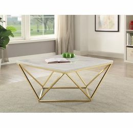 Brynn White Faux Marble Top Coffee Table w/Brass Metal Base by Coaster for Sale in Lawndale,  CA