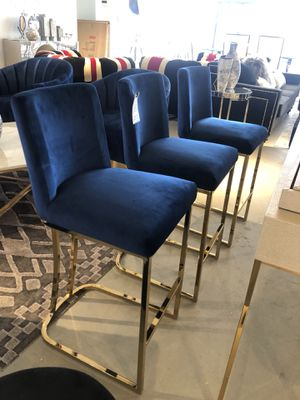 Set of 3 blue velvet and gold counter bar stools for Sale in Rockville, MD