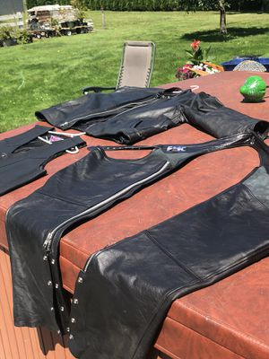 Motorcycle leathers chaps jacket vest for Sale in Enumclaw, WA