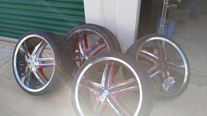 22s rims 5 lug universal with black and maroon inserts for Sale in San Antonio, TX