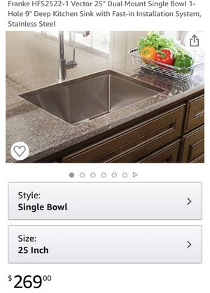 """Dual Mount Single Bowl 1-Hole 9"""" Deep Kitchen Sink Stainless Steel FAUCET NOT INCLUDED for Sale in Las Vegas, NV"""