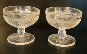 Vintage Antique Set of 2 Elegant Crystal Clear Glass Drink Dessert Bowl Cups for Sale in Chapel Hill, NC