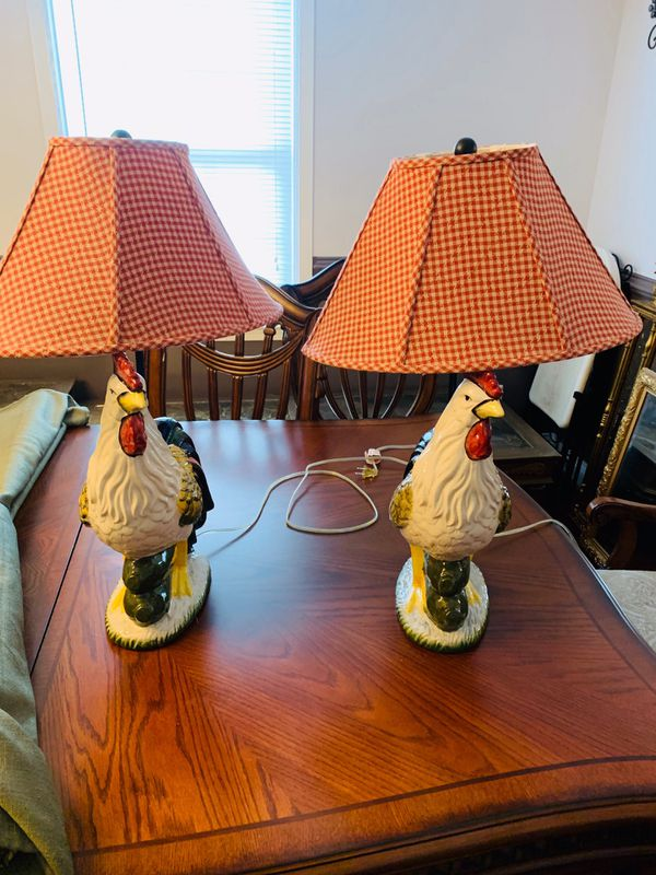 Rooster table lamp 27 inch ceramic