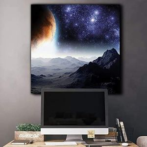 ((FREE SHIPPING)) rocky mountains with view to the golden moon and starry sky - canvas art home decor Painting like print for Sale in San Mateo, CA