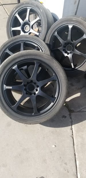 17 inch katana racing rims 5 lug universal. fits 5x100 and 5x114.3 for Sale in El Monte, CA