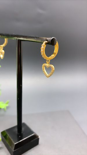 18k Gold Plated Full Rhinestone Circle Heart Clip on Huggie Hoop Earrings for Sale in Irvine, CA