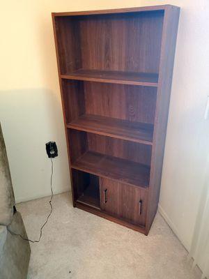 3 shelf bookcase w/ cabinet/sliding door- Great shape for Sale in Sun City West, AZ