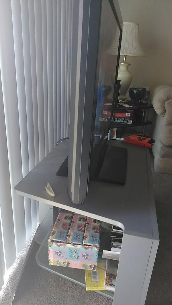"""Both $165-40"""" Plasma Panasonic TV AND Stand silver, glass shelves stand."""