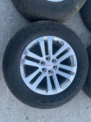 Like New GMC / Chevy rims and Goodyear tires with 90% tread. 6 Lug wheels CALL(214)**742***0770 Easy Financing Available w/ No Credit Check! Low pay for Sale in Dallas, TX
