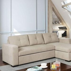 BEIGE SOFA SECTIONAL SLEEPER BED CHAISE HIDDEN STORAGE for Sale in Ontario, CA