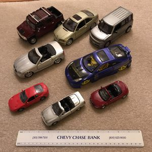 8 Toy cars vehicles maisto diecast small and medium sizes lot bmw toyota mercedes ferrari audi hummer honda scion for Sale in Burtonsville, MD