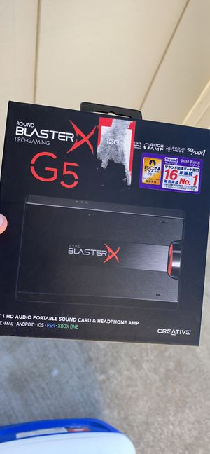 Sound Blaster X Pro Gaming G5 7.1 HD Audio soun card and headphone amp for Sale in Vacaville, CA