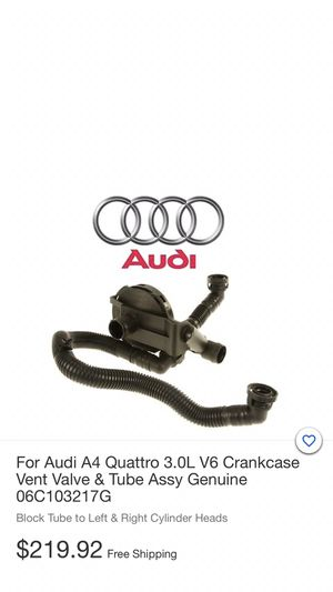 Genuine OEM Audi 06C-103-217-G Crankcase Vent Valve And Tube Assembly A4 Quattro for Sale in Los Angeles, CA