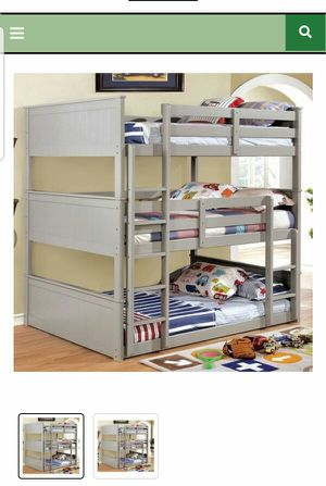 BRAND NEW TWIN TWIN TRIPLE BUNK BED ADD MATTRESS TWIN AND FULL ADD FURNITURE AVAILABLE LITERA INDIVIDUAL MATRIMONIAL for Sale in Riverside, CA