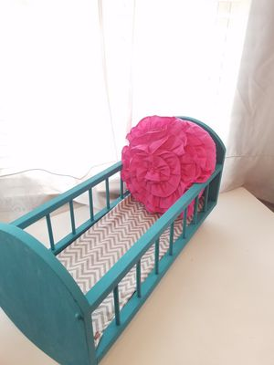 Vintage baby doll cradle- refinished blue -one of a kind for Sale in Buford, GA