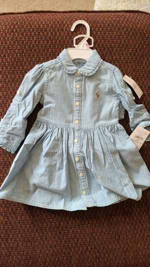Ralph Lauren baby girl denim shirt dress. for Sale in Livonia, MI