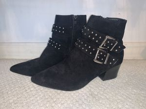 Black chunk heel booties, silver buckles and embellishments, pointed toe, inner zipper, size 7.5 ; barely worn for Sale in Columbus, OH