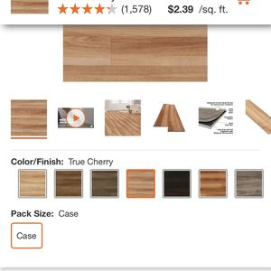 Home Decorators Collection True Cherry 7.5 in. L x 47.6 in. W Luxury Vinyl Plank Flooring (24.74 sq. ft. / case) this clicks and locks together Now N for Sale in Claremont, CA