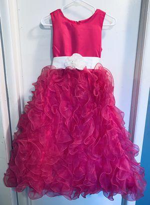Girl's Size 12 Formal Fuchsia with Cream Flower Ribbon Belt Formal Dress for Sale in Warren, MI