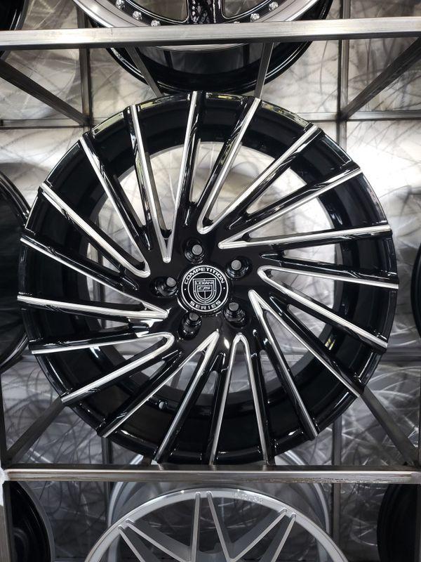 "20"" gloss black milled Lexani wraith wheels fits BMW Mercedes rim size 20x8.5 and 20x10"