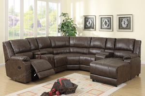 New Reclining Espresso Leather Entertainment Set. for Sale in Los Angeles, CA