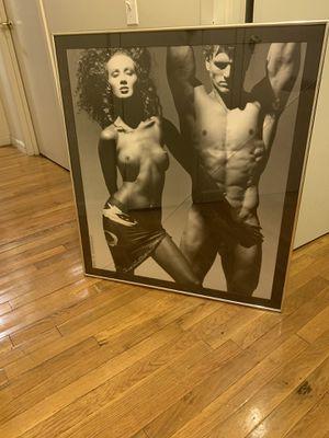 VICTOR SKREBNESKI - IMAN, Framed Vintage Nudes B&W Photo Print, Black Frame, 32x36 for Sale in New York, NY