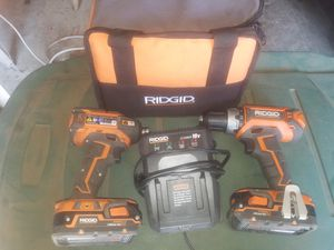 Ridgid 18v Cordless Brushless 3spd Impact and Driver drill with 2 batteries and charger for Sale in Upland, CA