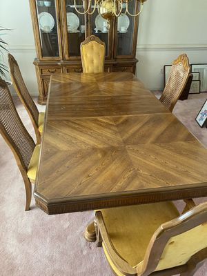 Wooden dining table and matching China cabinet for Sale in Silver Spring, MD