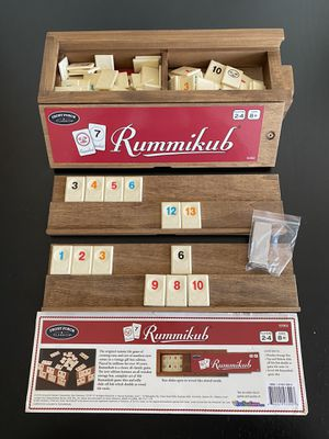 NEW FRONT PORCH CLASSICS RUMMIKUB WOODEN TILE BOARD GAME, WOODEN RACK & CASE for Sale in Lomita, CA