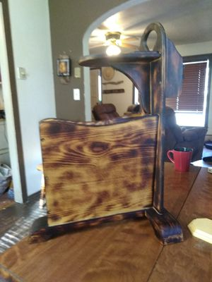 Custom finished magazine rack and cup holder. for Sale in Paonia, CO