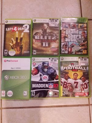 Xbox 360 w/ 6 games and 2 wired controller's for Sale in Davenport, FL