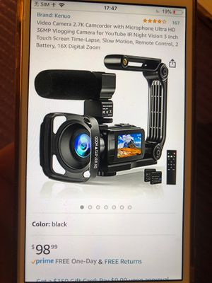 Video camera 2.7k camcorder with microphone for Sale in Philadelphia, PA