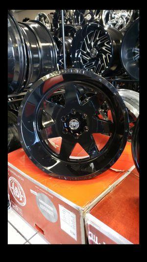 20x12 black hardcore rims 6 lug 6x139 whit New MUD tires 33 1250 20 lt for Sale in Phoenix, AZ
