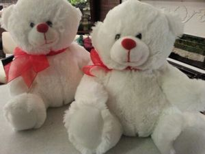 2 FLUFFY WHITE TEDDY BEAR STUFFED ANIMALS WITH RED RIBBONS for Sale in St. Louis, MO