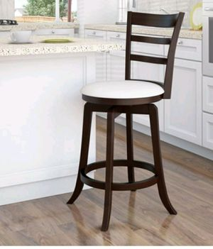 Woodgrove Counter Height Wood Swivel Bar Stools with White Leatherette Seat and 3-Slat Backrest for Sale in Fresno, CA