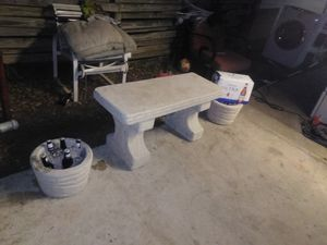 Outside Bench and 2 plant pots, cantera stone for Sale in San Antonio, TX