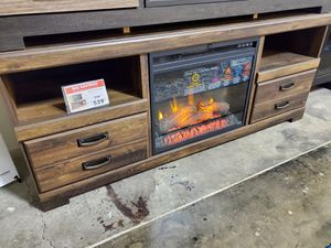 Fireplace TV Stand with Fireplace Insert, Brown for Sale in Fountain Valley, CA