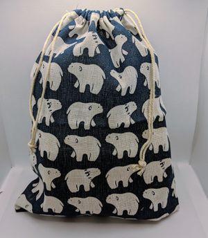 Polar Bear Patterned Storage Bag Cotton Drawstring Sack for Sale in Peoria, AZ