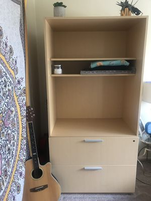 LARGE HEAVY TV stand/shelf unit with 2 drawers for Sale in Hayward, CA
