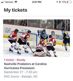 1 ticket - Nashville Predators at Carolina Hurricanes preseason upper corner 330 row H seat 1 for Sale in Durham, NC