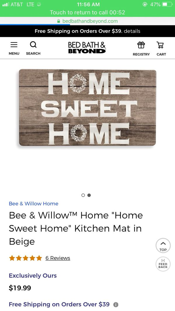 Home sweet home kitchen or floor mat brand new! Puo 12.00 firm! I only have 2 left! From bed bath and beyond. Very soft and great padding! *****gre