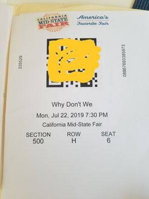 """""""Why Don't We"""" tickets Midstate Fair for Sale in Pismo Beach, CA"""