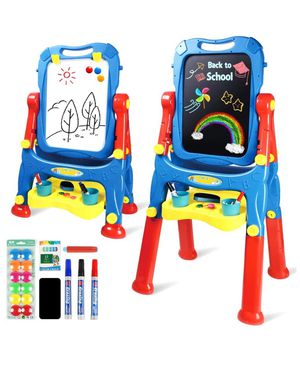 Drawing Board Toys for Boys & Girls Kids Art Easel for Toddlers with Magnetic Whiteboard & Chalkboard, Blue for Sale in South El Monte, CA