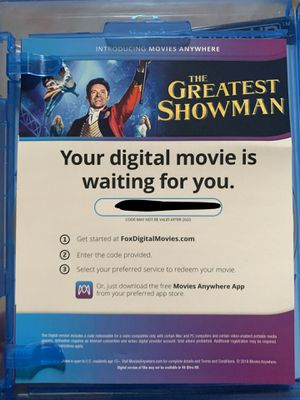 The Greatest Showman Digital Code for Sale in Las Vegas, NV