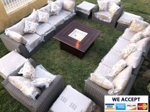 Huge patio furniture set with fire pit sunbrella for Sale in Riverside, CA